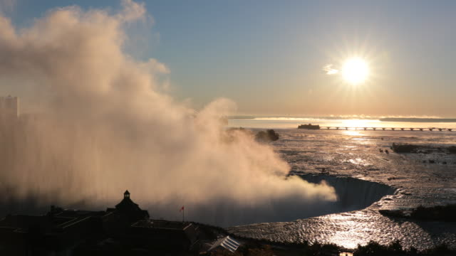cinemagraph of niagara falls at sunrise uhd 4k video - niagara falls stock videos and b-roll footage