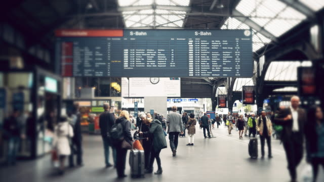 Cinemagraph of People commuting  at train station in Switzerland
