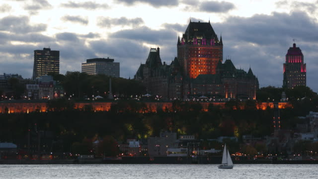 cinemagraph of quebec city at sunset, canada - capital cities stock videos & royalty-free footage