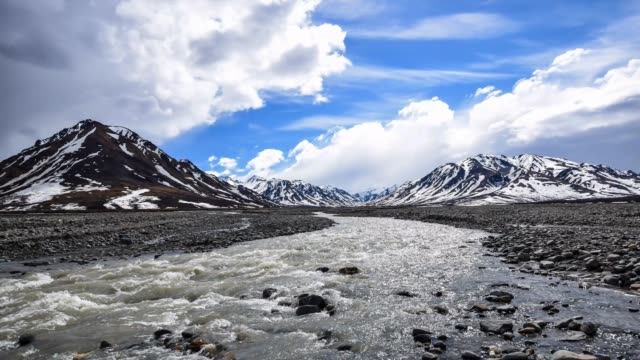 cinemagraph of toklat river and mountains - denali national park stock videos & royalty-free footage