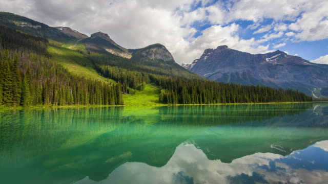 Cinemagraph of Yoho National Park's Emerald Lake, seamless loop timelapse