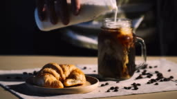 Cinemagraphs : Cup of cappuccino cafe and croissant on table