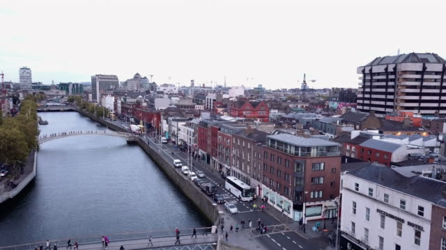 cinematic aerial shot of downtown dublin ireland - republic of ireland stock videos & royalty-free footage