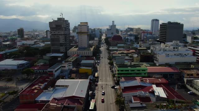 cinematic aerial view of the empty streets in the museum, parks and churches due to the quarentane of covid-19 in costa rica - san jose costa rica stock videos & royalty-free footage