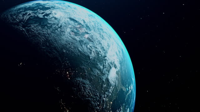 cinematic blue earth view from space - spazio cosmico video stock e b–roll