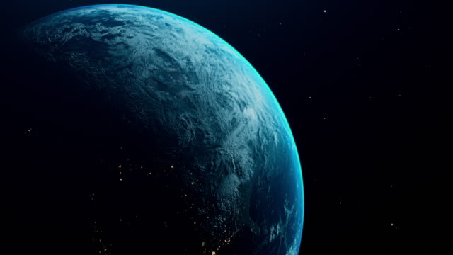 cinematic blue earth view from space - constellation stock videos & royalty-free footage