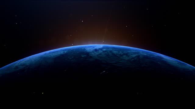 vídeos de stock, filmes e b-roll de cinematográfica azul terra vista do espaço - espaço para texto