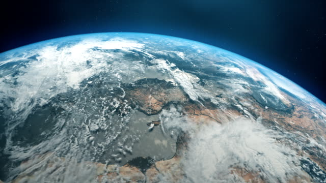 cinematic realistic rotating earth in space - air pollution stock videos & royalty-free footage