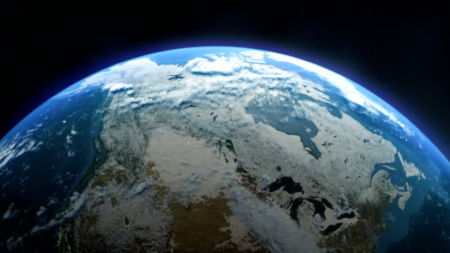 cinematic realistic rotating earth in space - arctic stock videos & royalty-free footage