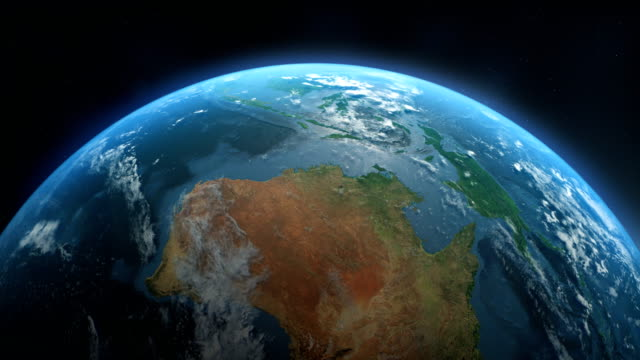 cinematic realistic rotating earth in space - pacific ocean stock videos & royalty-free footage