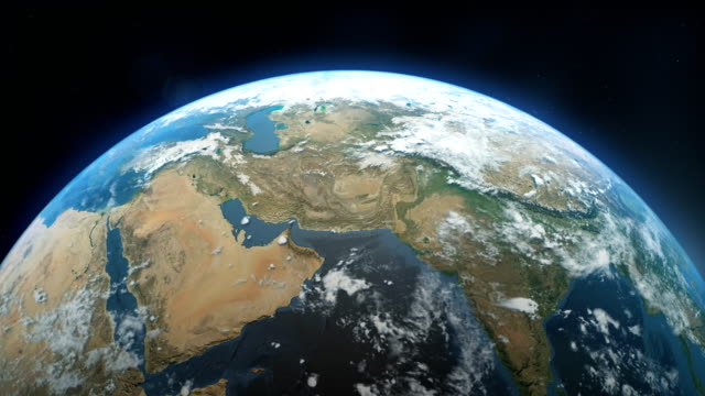 cinematic realistic rotating earth in space - red sea stock videos & royalty-free footage
