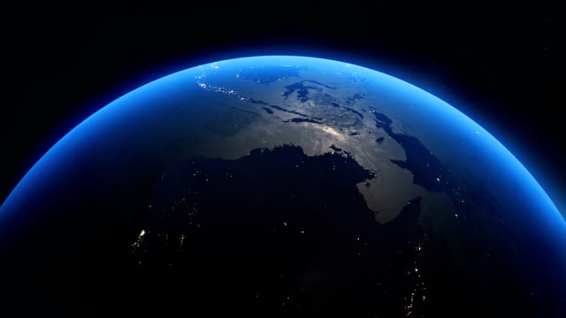cinematic realistic rotating night earth in space - north pacific stock videos & royalty-free footage