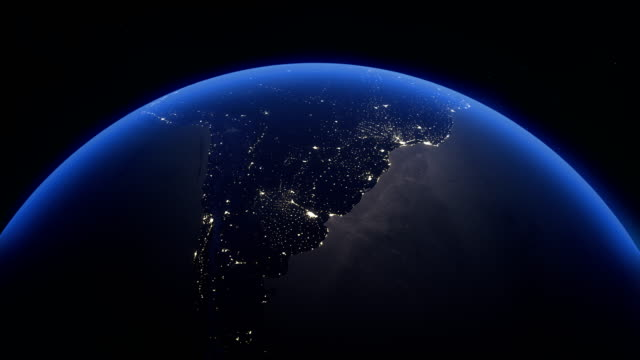 vídeos y material grabado en eventos de stock de cinematic realistic rotating night earth in space - hispanoamérica