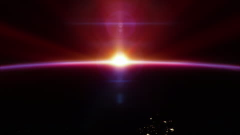 cinematic red sunrise from space - with city lights 4k - opportunity stock videos & royalty-free footage