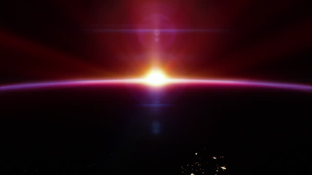 cinematic red sunrise from space - with city lights 4k - majestic stock videos & royalty-free footage