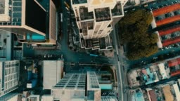 AERIAL. Cinematic style of Kuala Lumpur city from the drone. Yellow - blue color footage.