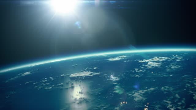 Filmische zonsopgang zoom naar volledige aarde - met stadslichten 4k