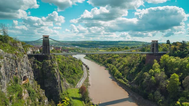 cinematic view of clifton suspension bridge in bristol, england on april 22, 2021. - traffic time lapse stock videos & royalty-free footage