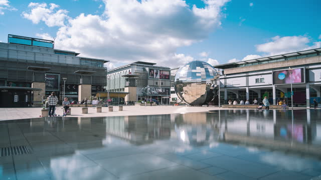 cinematic view of millennium square, bristol, england on april 22, 2021. - sphere stock videos & royalty-free footage