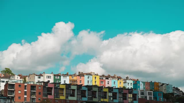cinematic view of multi-colored houses in bristol, england on april 22, 2021. - bright colour stock videos & royalty-free footage