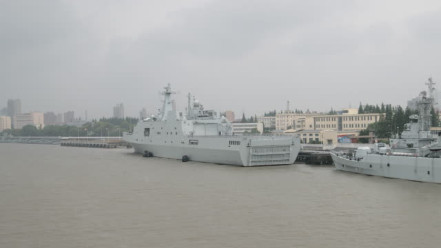 cinese warships moored at huangpu river - cinese stock videos & royalty-free footage