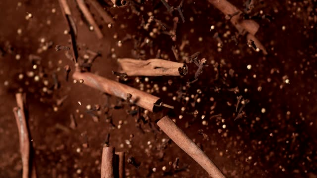 cinnamon pieces and cloves falling down - pampering stock videos & royalty-free footage