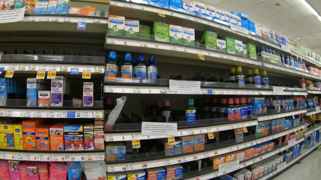 circa - march 13 ,2020 - orem utah, sign with qty limits on medicine with shelf becoming empty due to worldwide pandemic. - orem stock videos & royalty-free footage