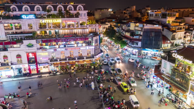 circle and night life in old quarter, hanoi, vietnam, time lapse video - vietnam stock videos & royalty-free footage