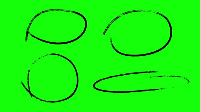 vidéos et rushes de marqueurs de cercle animé, écran vert - mèche colorée