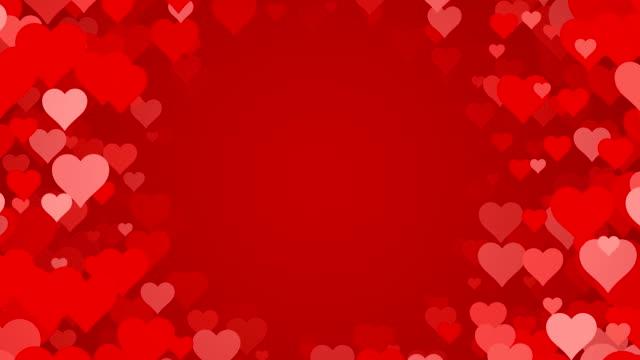 stockvideo's en b-roll-footage met cirkel van harten op rode achtergrond (loopbare) - jubileum