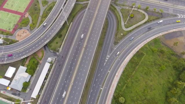 Kreis-Verkehr und Autobahnen in Bangkok Thailand, Luftbild