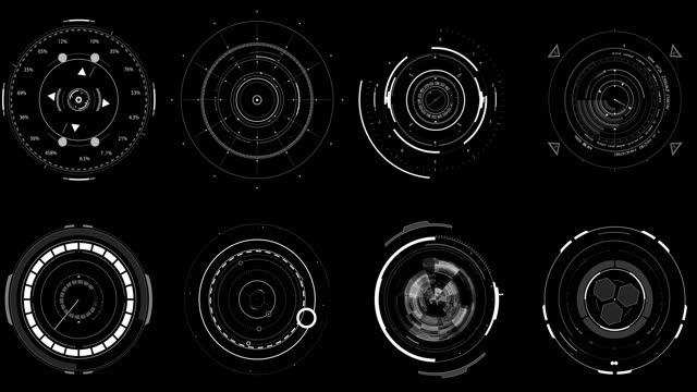 vídeos de stock, filmes e b-roll de círculos hud d - design element