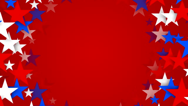 サークルの赤、白、ブルーの星スピニング(ループ