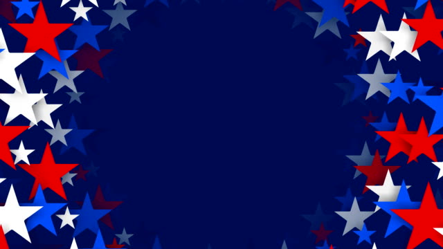 Circles of Red, White and Blue Stars Spinning (Loopable)