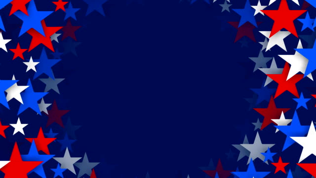 circles of red, white and blue stars spinning (loopable) - patriotism stock videos & royalty-free footage