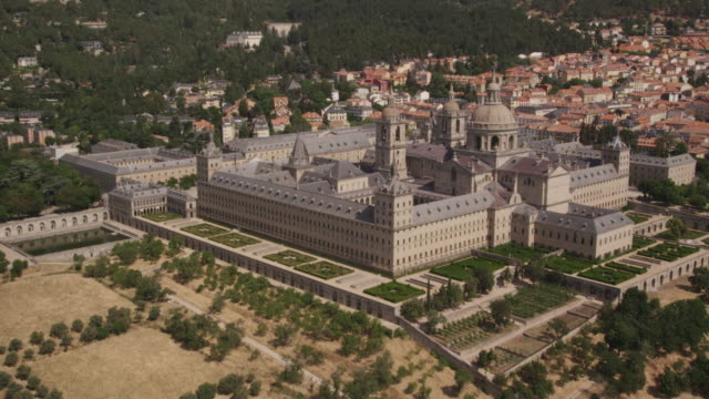 WS circling aerial view of El Escorial Palace near Madrid, RED R3D 4K