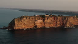 Circling drone shot of cape Kaliakra in Bulgaria
