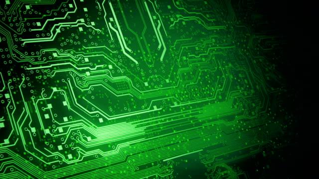 vídeos de stock, filmes e b-roll de placa de circuito de fundo 2 (verde)-loop - circuit board