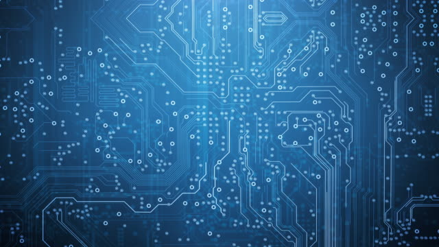 circuit board background - blue - loopable animation - computer, data, technology, artificial intelligence - circuit board stock videos & royalty-free footage