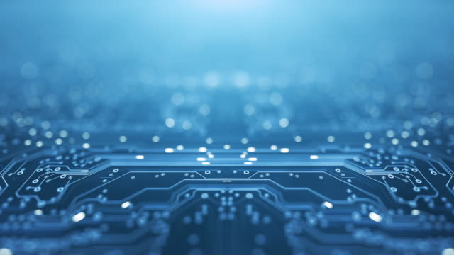 circuit board background - copy space, blue - loopable animation - computer, data, technology, artificial intelligence - circuit board stock videos & royalty-free footage