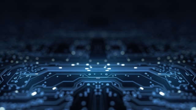 circuit board background - copy space, dark - loopable animation - computer, data, technology, artificial intelligence - computazione quantistica video stock e b–roll