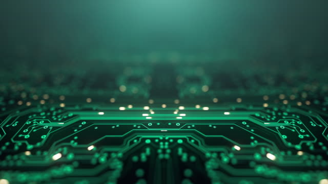 circuit board background - copy space, green - loopable animation - computer, data, technology, artificial intelligence - artificial intelligence stock videos & royalty-free footage