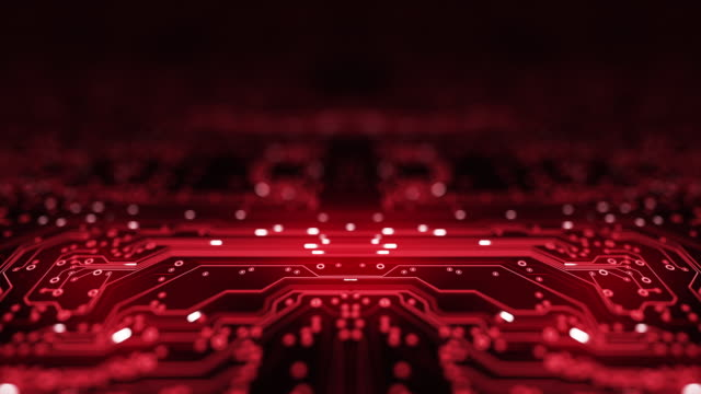 circuit board background - copy space, red - loopable animation - computer, data, technology, artificial intelligence - computer chip stock videos & royalty-free footage