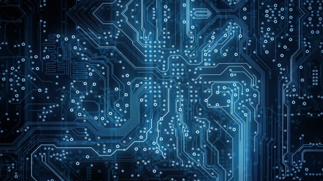 circuit board background - dark - loopable animation - computer, data, technology, artificial intelligence - computer chip stock videos & royalty-free footage