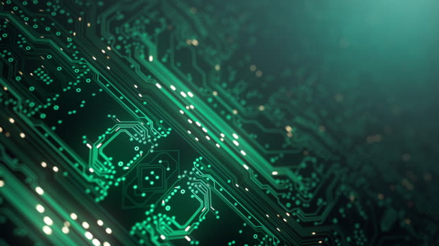 circuit board background - diagonal, green - loopable animation - computer, data, technology, artificial intelligence - nanotecnologia video stock e b–roll