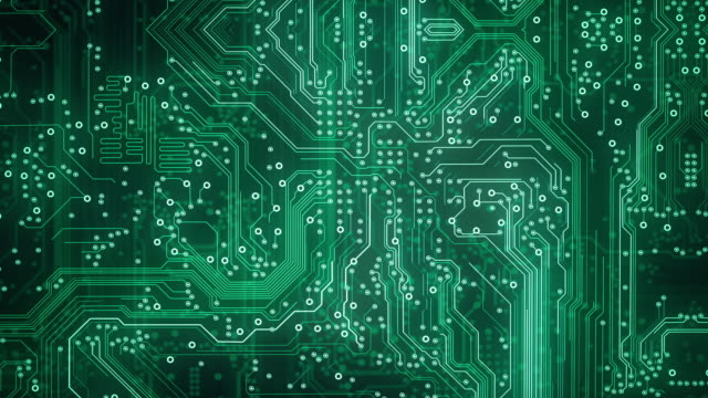 circuit board background - green - loopable animation - computer, data, technology, artificial intelligence - nanotecnologia video stock e b–roll
