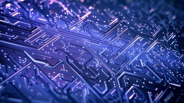 回路基板の背景 (パープル) - ループ - 中央演算処理装置点の映像素材/bロール