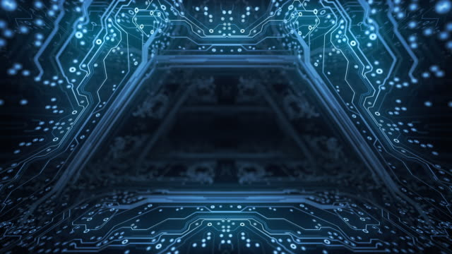 circuit board background - tunnel, dark - loopable animation - computer, data, technology, artificial intelligence - computazione quantistica video stock e b–roll