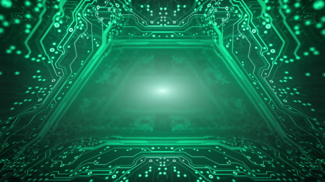 circuit board background - tunnel, green - loopable animation - computer, data, technology, artificial intelligence - blockchain stock videos & royalty-free footage