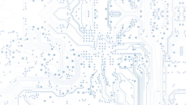 circuit board background - white - loopable animation - computer, data, technology, artificial intelligence - white stock videos & royalty-free footage